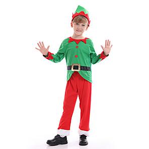 ieftine Costume Moș-Mos Craciun Costume Cosplay Băieți Pentru copii Crăciun Crăciun Crăciun Poliester Vârf / Pantaloni / Pălărie