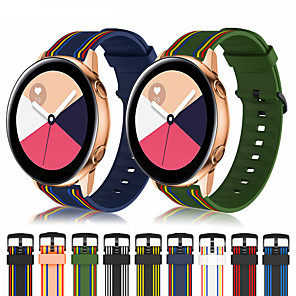 Недорогие Часы для Samsung-20 мм 22 мм силиконовый спортивный ремешок в полоску сменный резиновый ремешок для часов samsung galaxy 42 мм 46 мм s3 active2