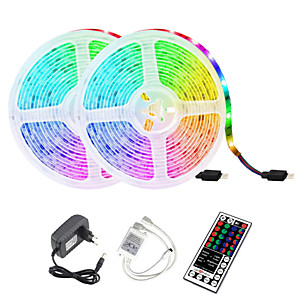 ieftine Benzi Lumină LED-2x5M Bare De Becuri LED Rigide 2*300 LED-uri 2835 SMD 8mm 1 44 Controlul telecomenzii 1set RGB Rezistent la apă Ce poate fi Tăiat Decorativ 12 V / IP65 / Auto- Adeziv