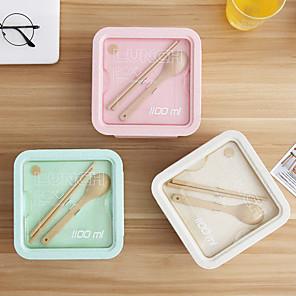 ieftine Cutii Depozitare Bucătărie-cutie de prânz bento 800ml / 1100ml cutie de depozitare pentru fructe pentru alimente pentru picnic pentru copii cutii de prânz separate paie de grâu japoneze portabile pentru adulți