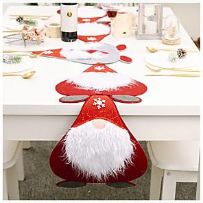 ieftine Șervețele & Inele de Șervețele-hârtie de serviciu / alergător de masă nețesut Crăciun contemporan Husă de masă decorare de masă pentru Crăciun dreptunghiular 180 * 40/40 * 31 cm roșu cu alb 1 buc