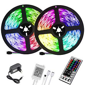 ieftine Sănătate Călătorie-LOENDE 2x5M Fâșii De Becuri LEd Flexibile Bare De Becuri LED Rigide Fâșii RGB 600 LED-uri 2835 SMD 8mm 1set RGB Crăciun Anul Nou Creative Ce poate fi Tăiat Decorativ 12 V / Auto- Adeziv