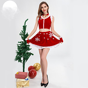 ieftine Costume Moș-Mos Craciun Fustă Pentru femei Adulți Crăciun Crăciun Crăciun Catifea Fuste / Vârf / Neckwear / Brățări