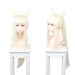 hesapli Anime Cosplay Peruklar-Cosplay Cosplay Cosplay Perukları Kadın's Düz Kahküllü 100 inç Isı Dirençli Fiber Mat Beyaz Yetişkin Anime Peruk