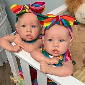 hesapli Barbie Bebek Kıyafetleri-22 inç Yeniden Doğmuş Bebekler Bebek ve Yürüme Evresi Oyuncakları Yeniden Doğmuş Bebek Bebek Kız Bebeklerin Yeniden doğmuş bebek bebek ikizler Saskia canlı El Yapımı Simülasyon El Uygulamal