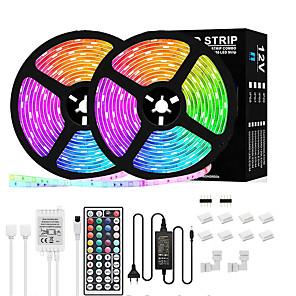 ieftine Benzi Lumină LED-lumini de bandă led 5m 10m rgb bandă de lumină led 5050 flexibil 150-300 led benzi de lumină schimbătoare de culoare cu telecomandă pentru iluminat acasă pat bucătărie decor bar