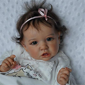 hesapli Barbie Bebek Kıyafetleri-22 inç Yeniden Doğmuş Bebekler Bebek ve Yürüme Evresi Oyuncakları Yeniden Doğmuş Bebek Bebek Kız Bebeklerin Saskia canlı El Yapımı Simülasyon El Uygulamalı Kirpikler Disket kafa Kumaş Silikon Vinil