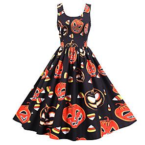 ieftine Halloween és farsangi jelmezek-Dovleac Rochii Adulți Pentru femei Halloween Halloween Festival / Sărbătoare Poliester Negru Pentru femei Uşor Costume de Carnaval / Rochie / Rochie