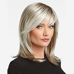 저렴한 -인조 합성 가발 곱슬머리 스트레이트 비대칭 헤어컷 가발 중간 길이 베이지 실버 인조 합성 헤어 14 인치 여성용 패션너블 디자인 절묘한 안락한 실버 브라운