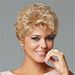 저렴한 -합성 가발 곱슬 머리 비대칭 가발 금발 짧은 금발 합성 머리 여성용 유행 디자인 절묘한 금발