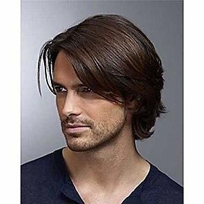 저렴한 -남자 짧은 갈색 가발 곱슬 머리 교체 합성 의상 할로윈 코스프레 전체 가발