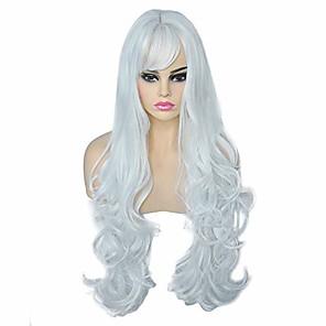 저렴한 -여성용 긴 가발 여성용 긴 머리 가발 여성용 긴 머리 곱슬 가발 파티 가발 곱슬 곱슬 머리 가발 소녀 흰색 28 인치 합성 교체 가발 의상 가발 (무료 가발 모자)