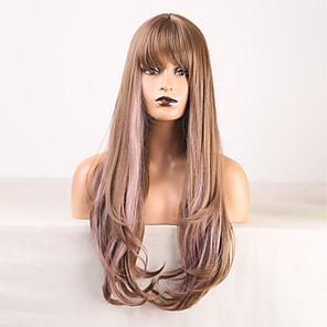저렴한 -코스프레 의상 가발 합성 가발 웨이브 바디 웨이브 중간 부분 가발 긴 금발 / 보라색 합성 머리 여성용 무취 멋쟁이 디자인 부드러운 혼합 색상