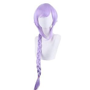 저렴한 -코스튬 가발 직진 브레이드 뱅포함 가발 긴 퍼플 인조 합성 헤어 24 인치 여성용 일본 애니메이션 코스프레 휴대하기 쉬운 퍼플