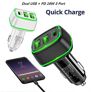 CHAFON Car Charger Cord Adapter,Dual 2.6 ft Retractable Fast Charging Cable Quick Charge,PD 18W Phone USB C Micro Port Compatible with Phone 11 XS Max XR X Samsung Galaxy LG Google Pixel /& More