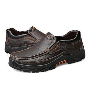 ราคาถูก -สำหรับผู้ชาย รองเท้าส้นเตี้ยทำมาจากหนังและรองเท้าสวมแบบไม่มีเชือก ไม่เป็นทางการ ทุกวัน วสำหรับเดิน หนังสัตว์ ระบายอากาศ ไม่ลื่นไถล สวมหลักฐาน สีดำ สีน้ำตาล ฤดูใบไม้ผลิ