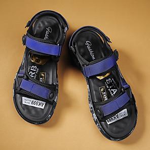 ราคาถูก -สำหรับผู้ชาย รองเท้าแตะ ไม่เป็นทางการ สไตล์ชายหาด ทุกวัน ผ้ายืดหยุ่น ระบายอากาศ ไม่ลื่นไถล สวมหลักฐาน สีดำ ฟ้า ฤดูร้อน
