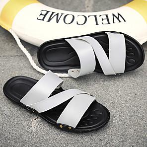 ราคาถูก -สำหรับผู้ชาย รองเท้าไม้ & รองเท้าหัวทู่ รองเท้าแตะส้นแบน ไม่เป็นทางการ ทุกวัน รองเท้าน้ำ PU ระบายอากาศ ไม่ลื่นไถล สวมหลักฐาน ขาว สีดำ สีเหลือง ฤดูร้อน