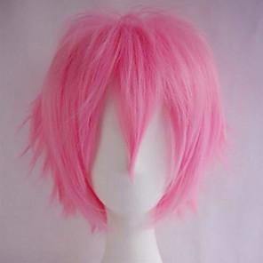 저렴한 -인조 합성 가발 자연 스트레이트 비대칭 헤어컷 가발 짧음 핑크 인조 합성 헤어 여성용 일본 애니메이션 코스프레 파티 핑크