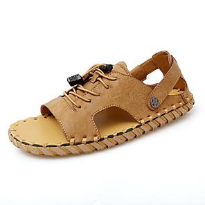 ราคาถูก -สำหรับผู้ชาย รองเท้าแตะ ถักโครเช รองเท้าหนัง รองเท้าแตะส้นแบน สปอร์ต ไม่เป็นทางการ สไตล์ชายหาด ทุกวัน กลางแจ้ง รองเท้าน้ำ วสำหรับเดิน หนัง Nappa หนัง ระบายอากาศ ทำด้วยมือ ไม่ลื่นไถล รองเท้าบู้ทหุ้มข้อ
