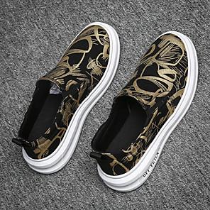 ราคาถูก -สำหรับผู้ชาย รองเท้าส้นเตี้ยทำมาจากหนังและรองเท้าสวมแบบไม่มีเชือก ไม่เป็นทางการ การกรีฑา กลางแจ้ง วสำหรับเดิน ผ้าใบ ซินธิติกส์ ระบายอากาศ ไม่ลื่นไถล ช็อตดูดซับ รองเท้าบู้ทหุ้มข้อ สีทอง สีเงิน สายรุ้ง