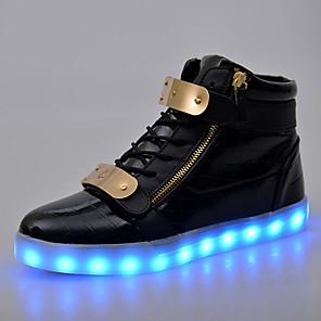 זול -נעלי מנורת ברזל נטענת usb, נעלי פלורסנט, נעלי led גבוהות, נעליים זוהרות עם סקוטש כפול, נעליים זוהרות בסגנון זוגי