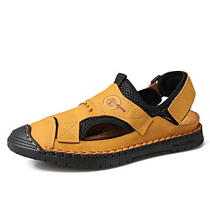 זול -בגדי ריקוד גברים סנדלים סגנונות חוף נעליים רומיות יומי בָּחוּץ עור נאפה נושם ללא החלקה ללבוש הוכחה שחור צהוב כחול אביב קיץ