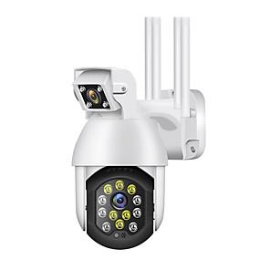 저렴한 -새로운 3mp wifi ptz 카메라 야외 ip 비디오 감시 듀얼 렌즈 자동 트랙 4x 줌 스마트 홈 라이프 icam365 원격 모니터