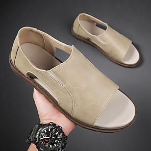 ราคาถูก -สำหรับผู้ชาย รองเท้าแตะ ไม่เป็นทางการ สไตล์ชายหาด รองเท้าโรมัน ทุกวัน วสำหรับเดิน หนัง Nappa ระบายอากาศ ไม่ลื่นไถล สวมหลักฐาน สีดำ สีกากี ฤดูร้อน