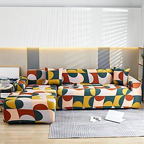 זול -הדפסת גיאומטריה צבעונית עמיד בפני אבק החלקים הכל-כך עוצמתיים למתוח כיסוי ספה בצורת l סופר בד רך ספה כיסוי ספה מגן ריהוט עם מקרה בוסטר אחד בחינם