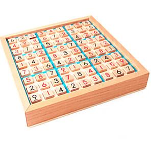 저렴한 -나무 스도쿠 보드 게임 몬테소리 장난감 수학 학습 보드 퍼즐 보드 장난감 서랍이있는 수학 사고 게임