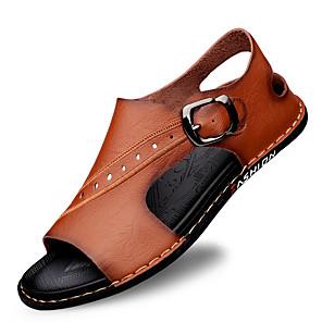 저렴한 -남성용 샌들 가죽 신발 플랫 샌들 로마 신발 캐쥬얼 해변 스타일 로마 신발 일상 집 밖의 워킹화 내파 가죽 가죽 통기성 미끄럼 방지 충격 흡수 부티 / 앵클 부츠 밝은 브라운 어두운 무늬 블랙 컬러 블럭 봄 여름
