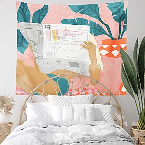 저렴한 -해변 신문 잎 벽 태피스트리 아트 장식 담요 커튼 매달려 홈 침실 거실 장식 폴리 에스테르