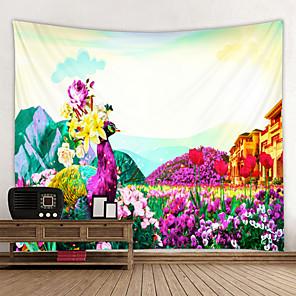 저렴한 -벽 태피스트리 벽 교수형 아트 데코 담요 커튼 집에 매달려 침실 거실 장식 아름다운 풍경 꽃과 공작 집