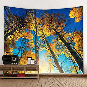 저렴한 -벽 태피스트리 벽걸이 아트 데코 담요 커튼 집에 매달려 침실 거실 푸른 하늘 아래 노란 잎의 숲을 장식