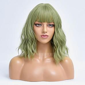 economico -Amazon transfrontaliero nuovo prodotto parrucca europea e americana signore matcha verde corto capelli ricci parrucca in fibra chimica produttori all'ingrosso