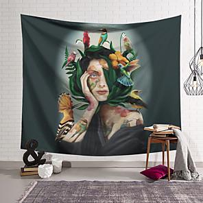 저렴한 -꽃 동물 여자 벽 태피스트리 아트 장식 담요 커튼 매달려 홈 침실 거실 장식 폴리 에스테르