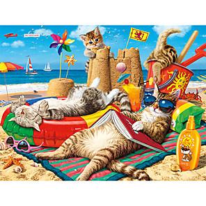 저렴한 -1000 pcs 직소 퍼즐 해변 고양이 그라데이션 만다라 피는 꽃 교육 장난감 선물 귀여운 감압 장난감 부모-자식 대화 형 판지 종이 어린이 성인 퍼즐 장난감 선물