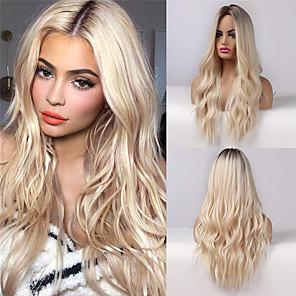 저렴한 -c903 여성을위한 자연 긴 물결 모양의 가발 ash blonde ombre wig with brown roots middle parting 내열성 합성 가발 for cosplay halloween