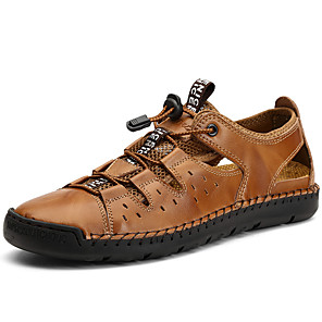 رخيصةأون -رجالي صنادل أحذية جلدية كاجوال مناسب للبس اليومي المشي جلد متنفس البوط القصير / بوط الكاحل أسود أصفر بني الصيف