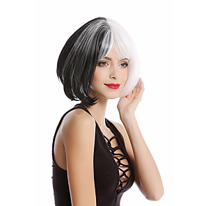 economico -bob cosplay diviso verticale nero bianco metà parrucche sintetiche per le donne