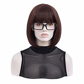economico -breve capovolto dritto in costume di halloween donna parrucca marrone montatura per occhiali neri