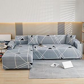 זול -הדפסת פסים אפורים עטיפות אבק כל הכוח חזייה למתוח כיסוי ספה בצורת l כיסוי ספה בד סופר רך מגן ריהוט ספה עם מקרה בוסטר אחד בחינם