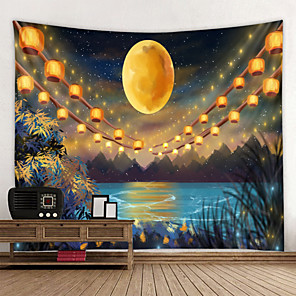 저렴한 -벽 태피스트리 벽걸이 아트 데코 담요 커튼 집에 매달려 침실 거실 장식 밤하늘 아래 달 호수에 등불