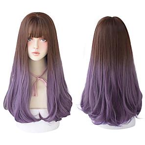 economico -capelli lunghi con frangia per le donne parrucca nera a strati viola parrucca naturale moda resistente al calore all'ingrosso