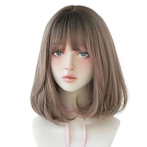 economico -parrucca rosa lolita capelli corti lisci con bang parrucche sintetiche per le donne parrucca senza colla resistente al calore cosplay di natale
