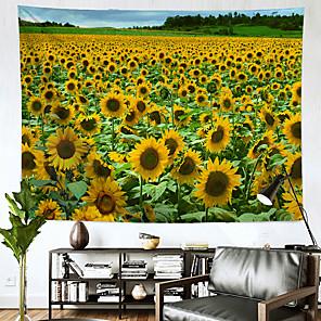 זול -חמניות נוף קיר שטיח קיר תפאורה שמיכת וילון תלוי חדר שינה ביתי סלון קישוט פוליאסטר