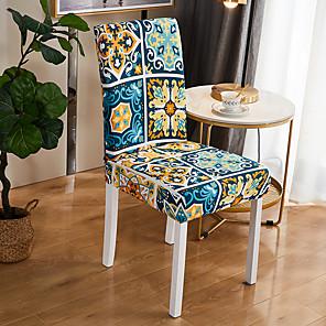 preiswerte -Stretch-Küchenstuhlbezug Schonbezug für Dinnerparty Boho geometrische vier Jahreszeiten universeller super weicher Stoff Retro heißer Verkauf