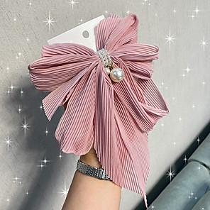 abordables -Clip de resorte bowknot hilo de red horquilla con flecos pliegues tela media cabeza clip perla accesorios para el cabello