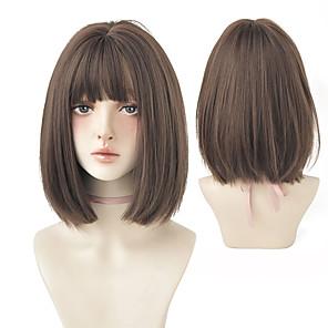 economico -parrucca corta nera per ragazza parrucca sintetica da indossare tutti i giorni parrucca sintetica resistente al calore estiva flessibile di nuovo stile con frangia